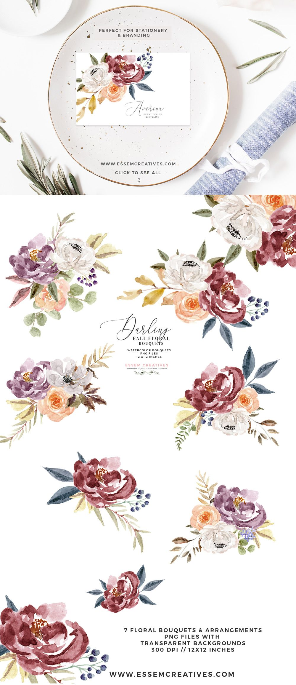 Fall Floral Watercolor Clipart Burgundy Rose Gold Geometric Floral Frames Floral Watercolor Floral Floral Logo