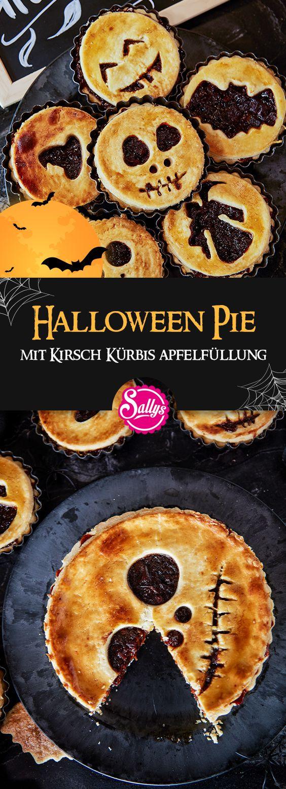 Diese süßen Halloween Pies / Tartes sind eine perfekte Snack-Idee für die nächste Halloween Party. Nach Belieben könnt ihr die Füllung auch komplett umgestalten. Ich finde vor allem die gruseligen Gesichter sehr süß!  #halloween #pie #cherry #kirsch #apple #pumpkin #kürbis #kuchen #tarte #herbst #fall #sally #sallyswelt