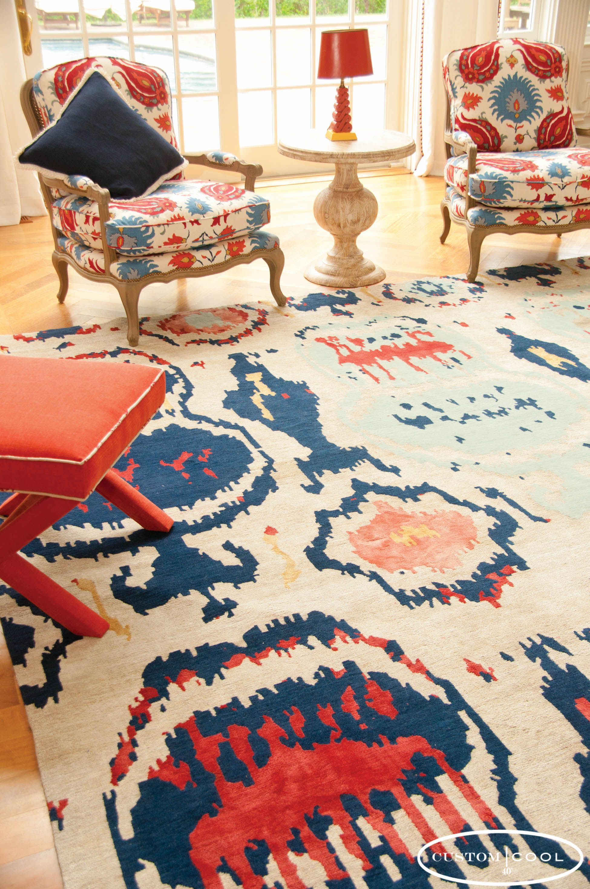 Custom Cool Rug And Suzani Chairs Ikat Pattern That Brings Color Excitement To Any Room
