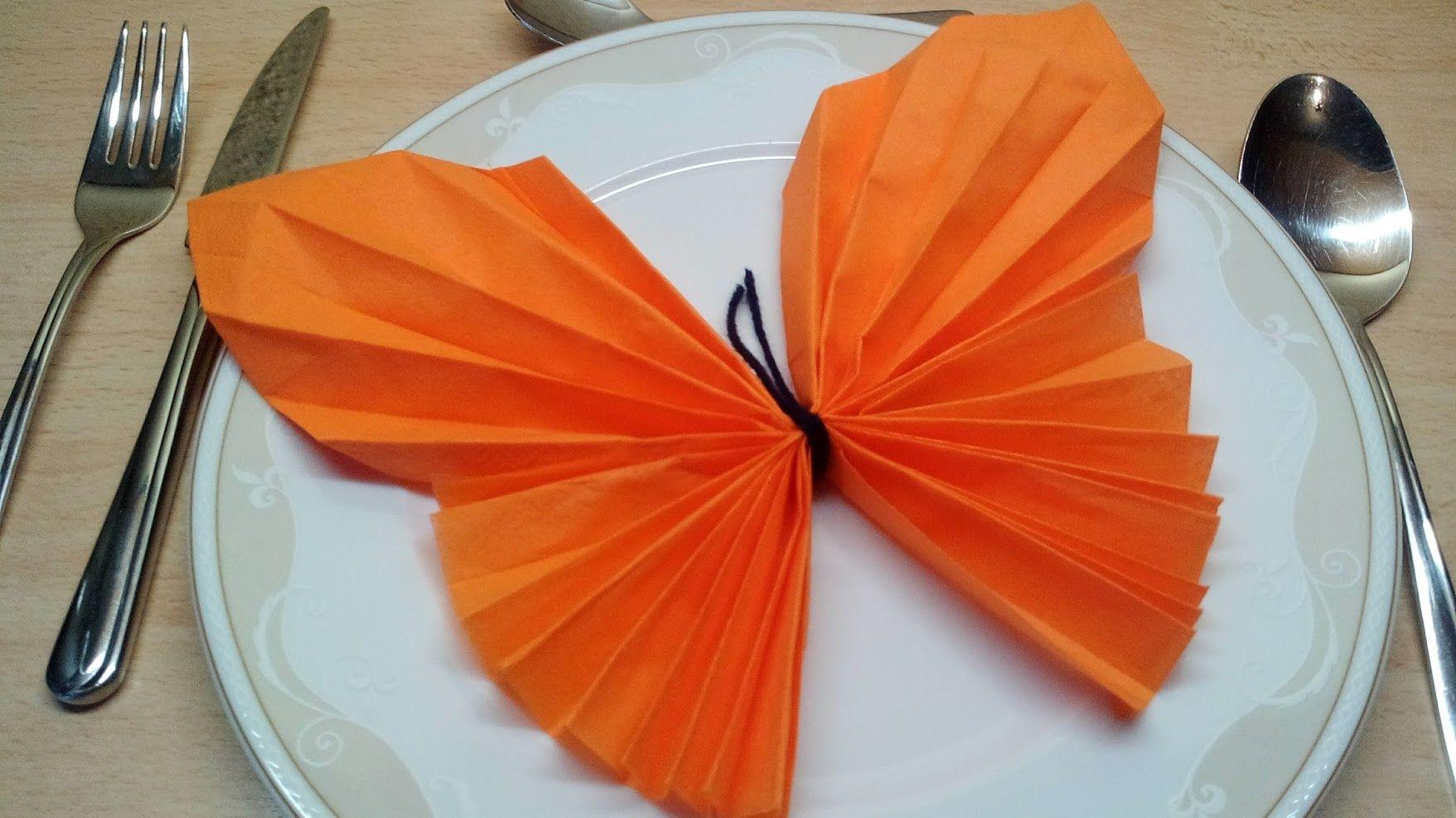 Schmetterling - illustrierte Servietten Faltanleitung (photographed napkin folding instructions for a butterfly #serviettenfalteneinfach