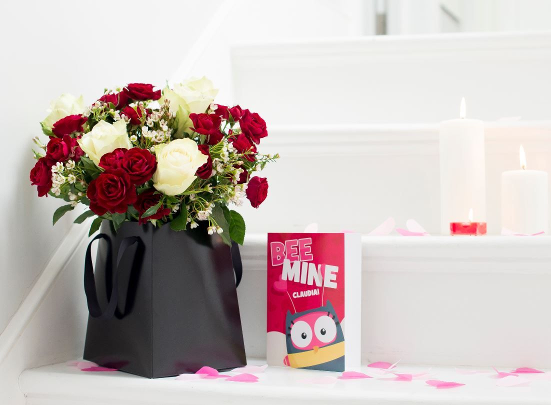 All My Kisses rose gift bag and card from Moonpig with – Valentines Cards Moonpig
