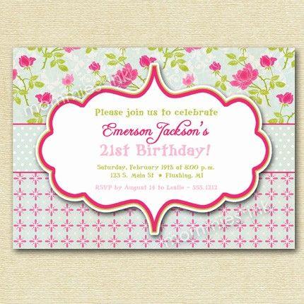 shabby chic birthday party invite - digital invitation design, Party invitations