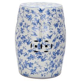 Ceramic Garden Stool With A Toile Motif And Cutout Details Product Garden Stoolconstruction Material Ceramic Garden Stools Garden Stool White Garden Stools