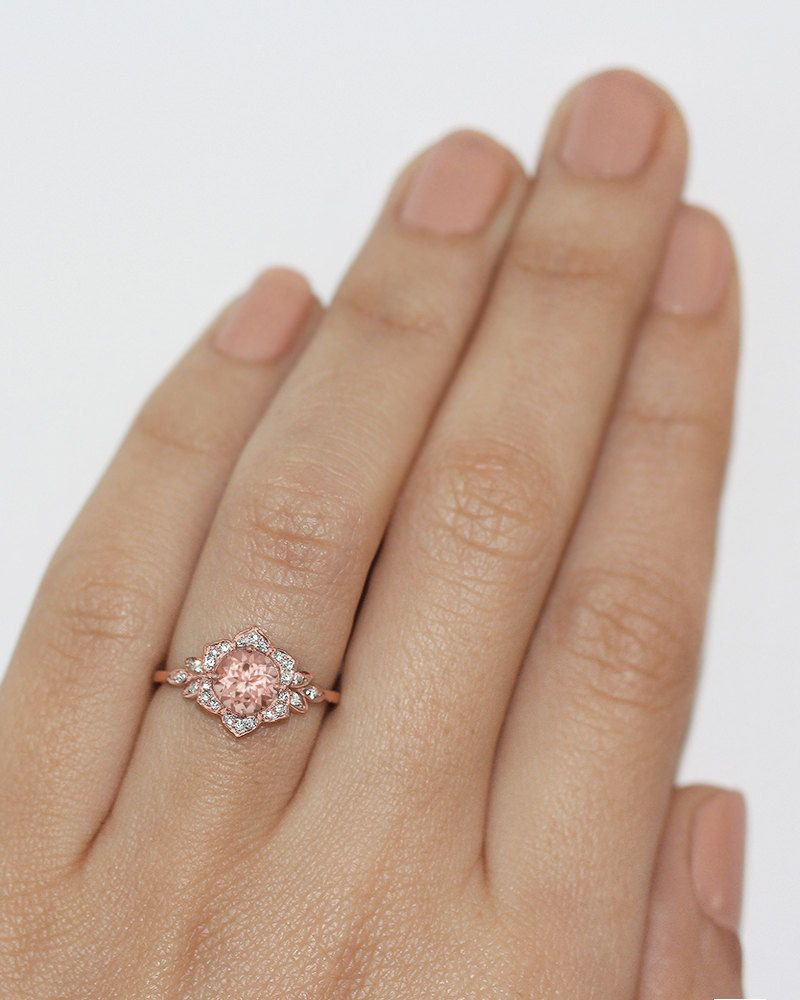 Morganite Engagement Ring Vintage Lily Ring by SillyShinyDiamonds