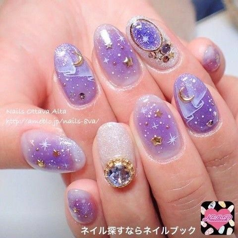 nail design color star nail  lila lavendelnagel  nails