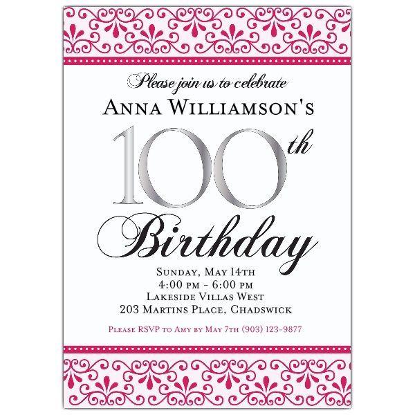Pink Scroll 100th Birthday Invitations Birthday Party Invitation Templates Birthday Invitation Templates Birthday Invitations