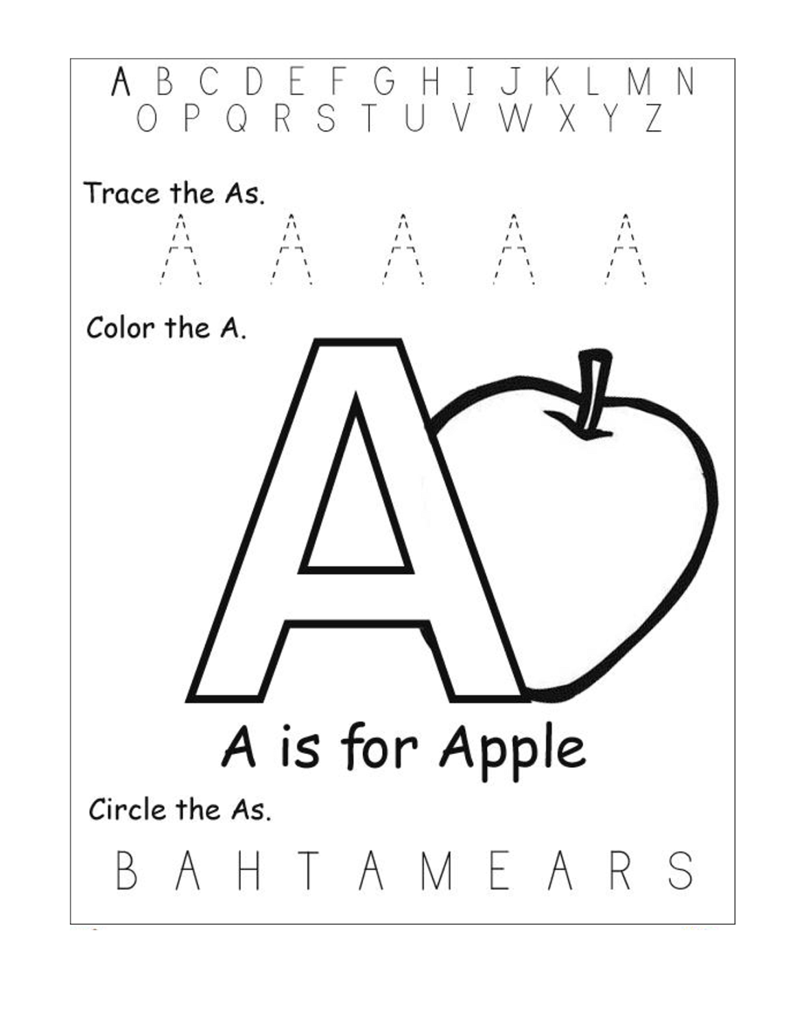 Trace Letter A Sheets To Print In