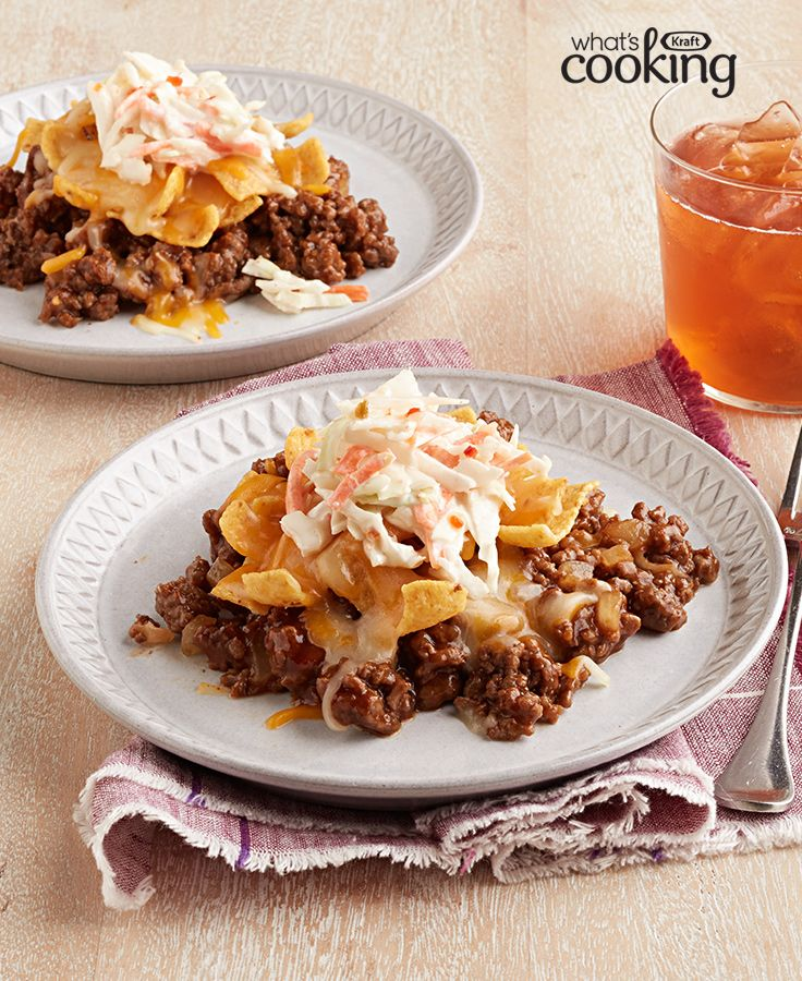 Yummy Ground Beef Recipes: Barbecue Beef-Corn Chip Bake #recipe