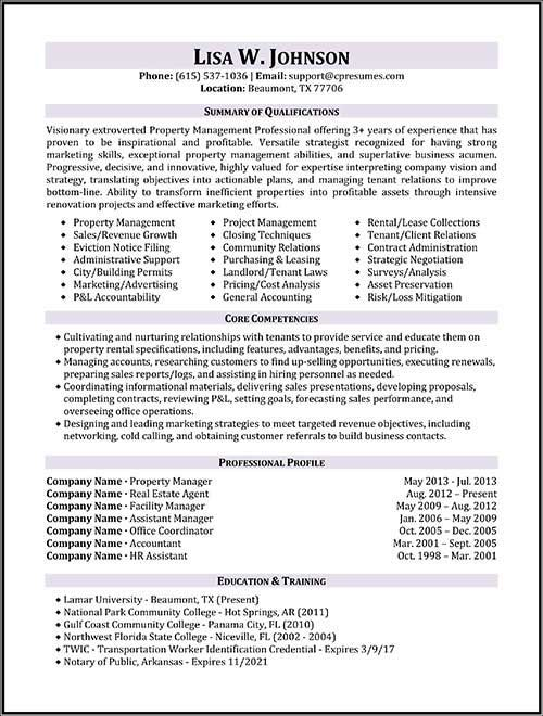 Resume Property Manager Position