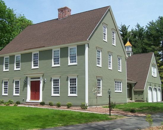 Green Colonial House Google Search House Paint Exterior Exterior Paint Colors For House Exterior House Colors