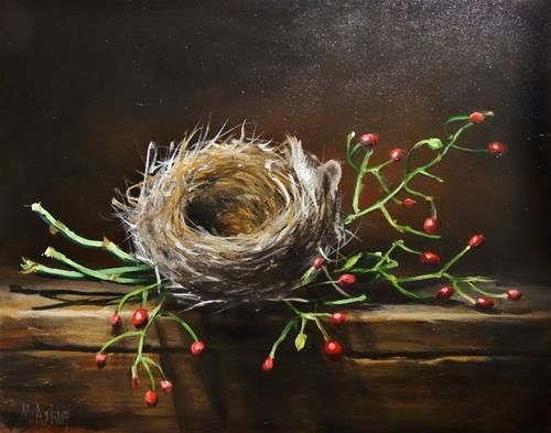 "Daily Paintworks - ""Emty Nest with Wild Rose Hips"" - Original Fine Art for Sale - © Mary Ashley"