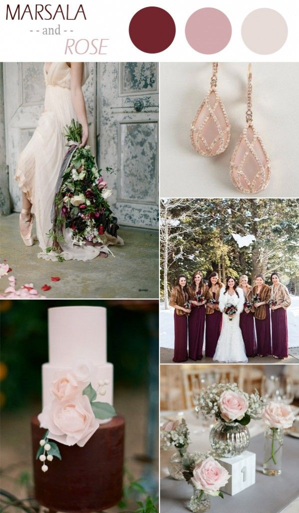 marsala and rose winter wedding color ideas 2015 - Fall Colors For A Wedding