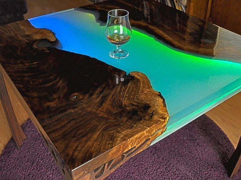 Amazing table designed with epoxy post b wood resin