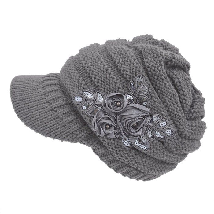 558f4036f19 Women s Cable Knit Newsboy Visor Cap Hat with Sequined Flower