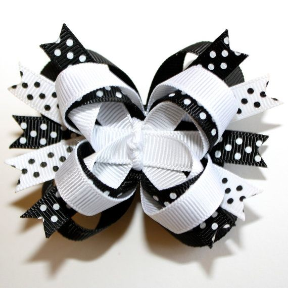 . White with Dots 10 SMALL RIBBON BOWS