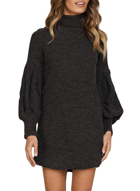 Damen Langarm Rollkragen Strickkleid in schwarz von Happy Sailed. Das Kleid  ist sehr kurz und 5487a80623