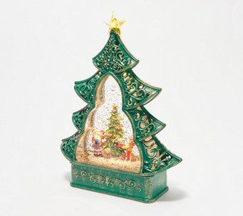Illuminated Glitter Globe Tree with Holiday Scene by Valerie