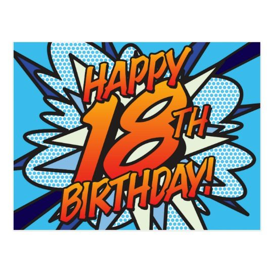 HAPPY 18TH BIRTHDAY Comic Book Pop Art Blue Postcard