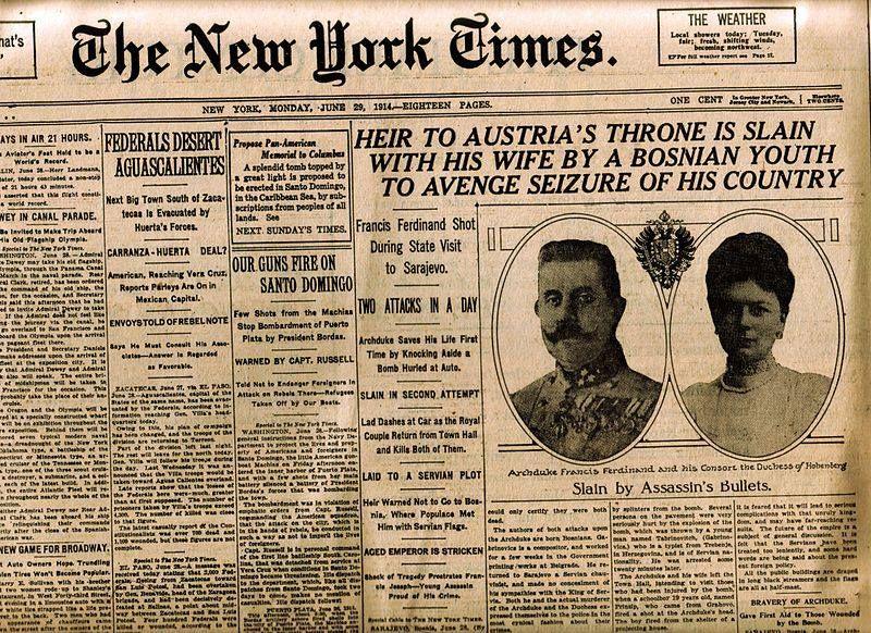 La prima pagina del New York Times, lunedì 29 giugno 1914.