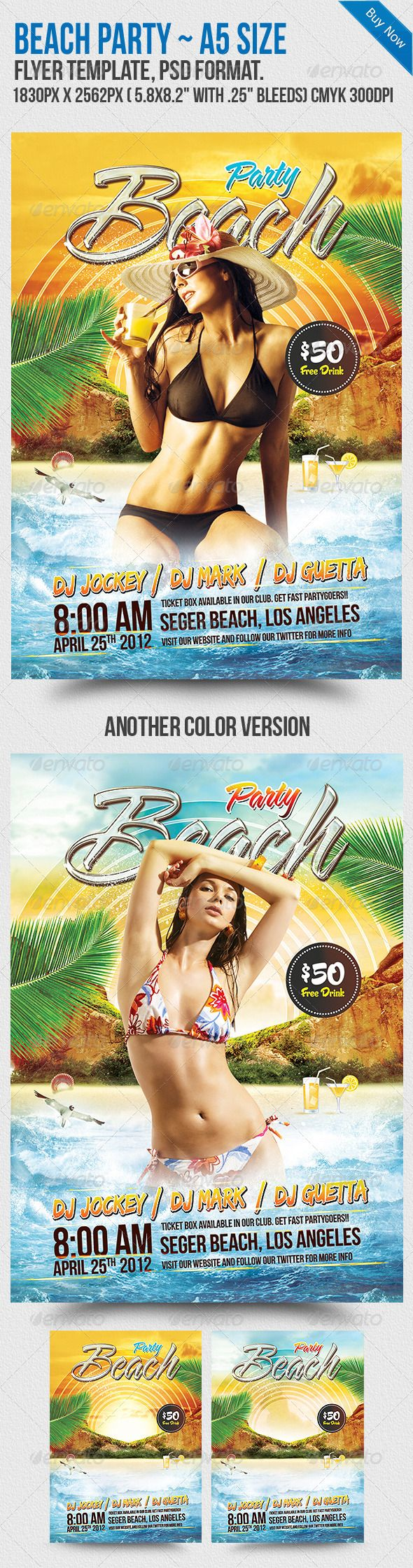 Beach Party A Flyer Template  Flyer Template Party Poster And