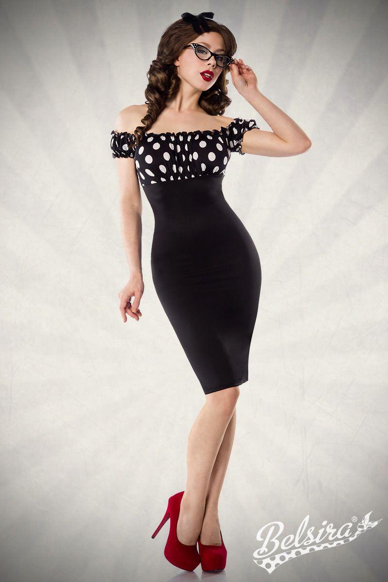 Figurbetonendes Vintage-Kleid von Belsira. Es ist schulterfrei und ...