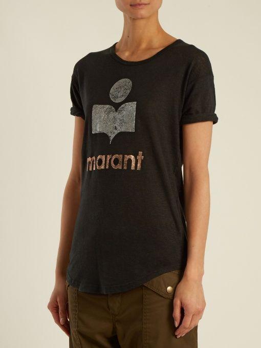 89dcc0e513eb4 Isabel Marant Étoile Koldi logo-print linen T-shirt