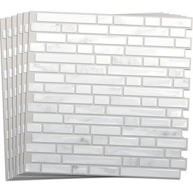 Smart Tiles 6 Pack White Silver Composite Vinyl Mosaic Subway L And