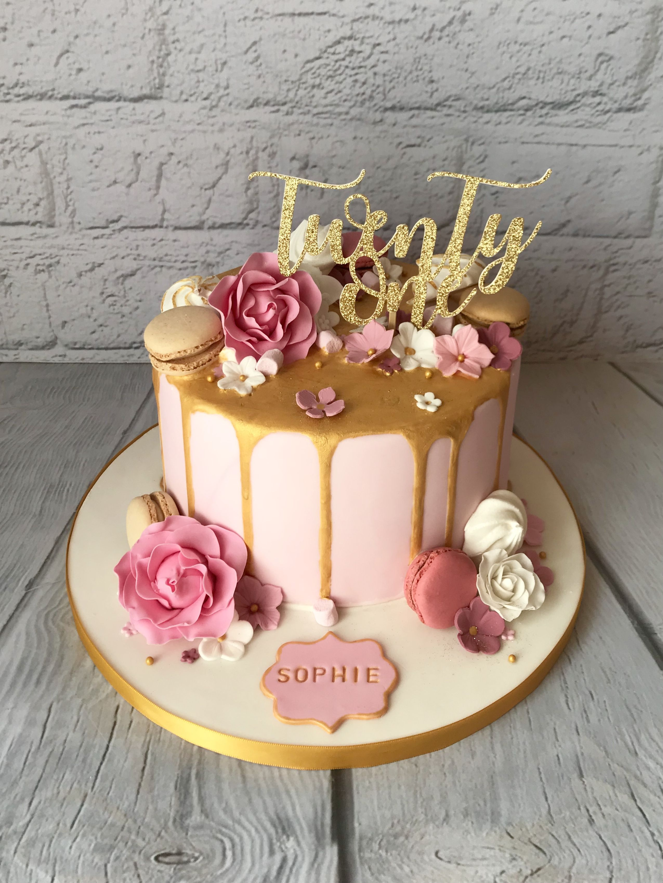 21st Cake With Gold Drip Macarons Meringues And Sugar Paste