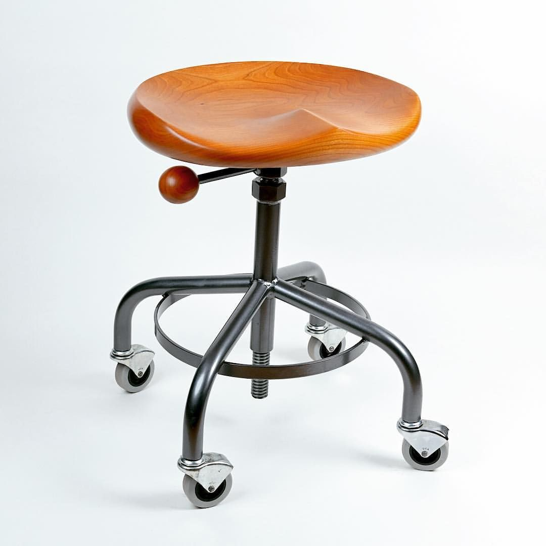 Stupendous Industrial Vintage Metal Stool Base With Cherry Wood Top Gmtry Best Dining Table And Chair Ideas Images Gmtryco