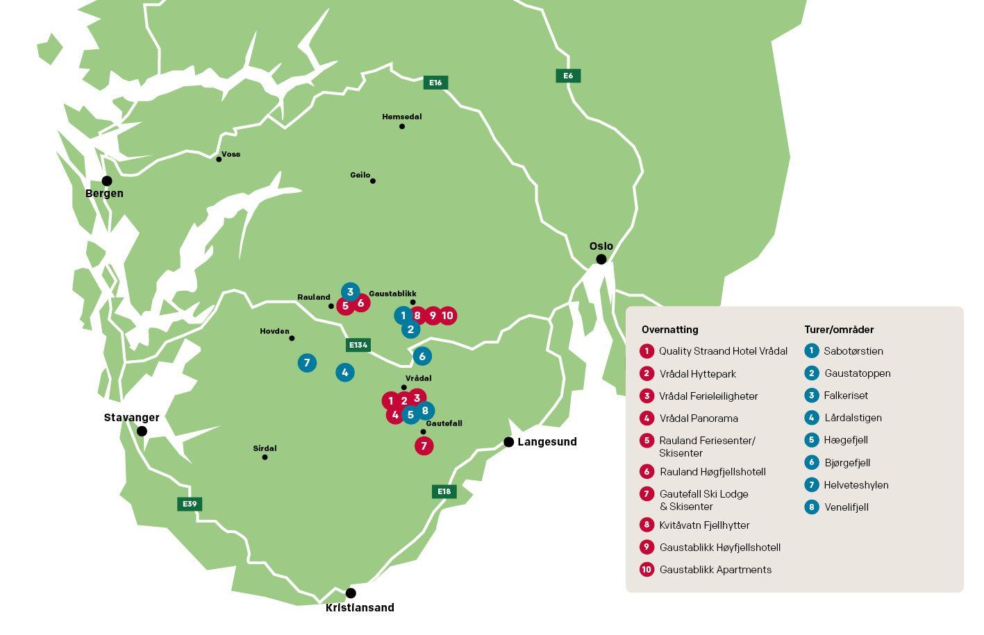 Kart Over Vandreferie I Telemark Vandring