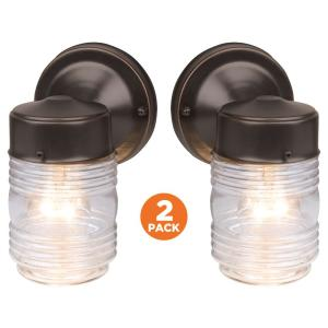 Design House Jelly Jar Oil Rubbed Bronze Outdoor Wall Mount Wall Lantern Sconce 2 Pack 587311 The Home Depot Bronze Wall Sconce Lantern Sconce Jelly Jars