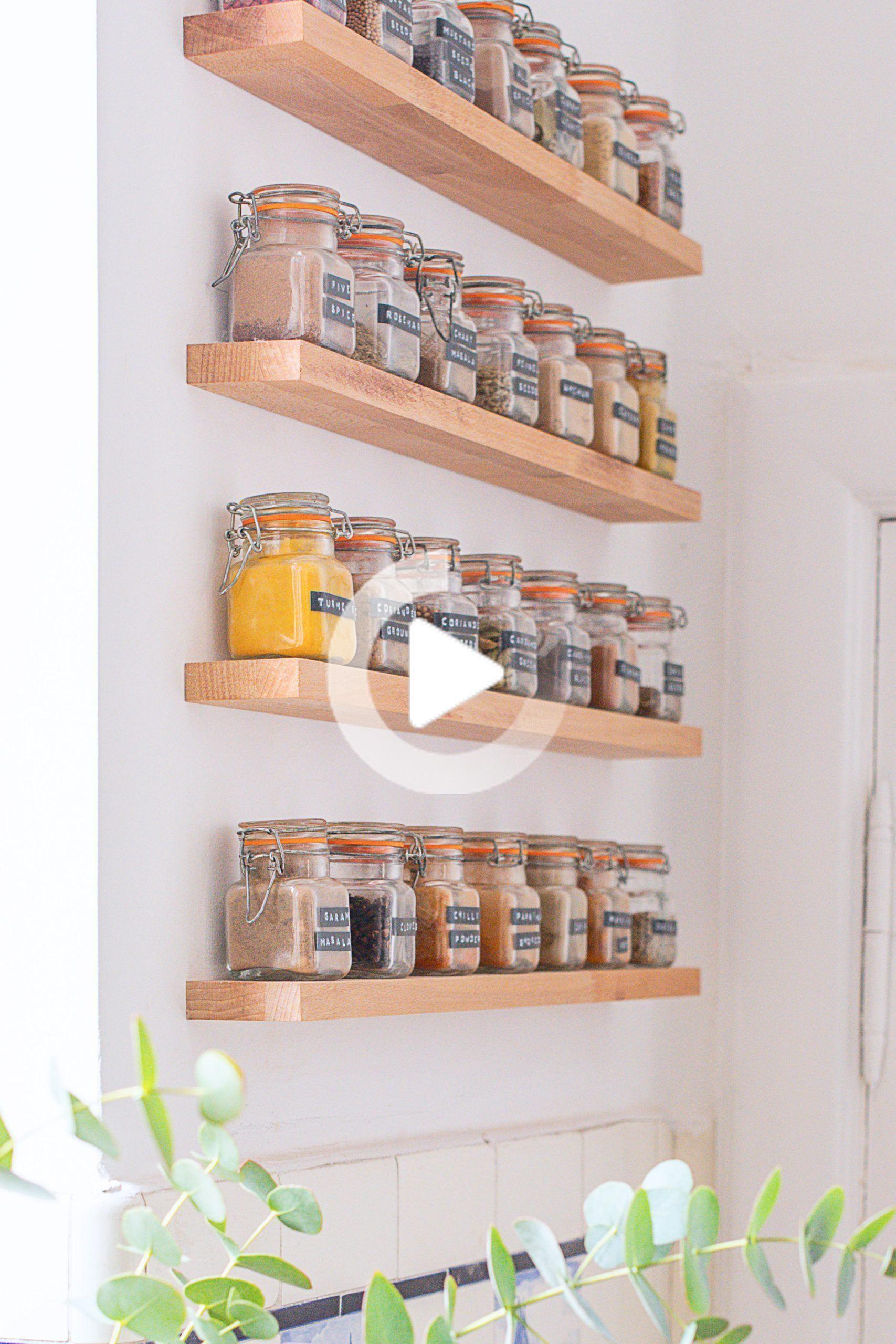 DIY Floating Spice Rack   Étagère à épices, Rangement mural ...
