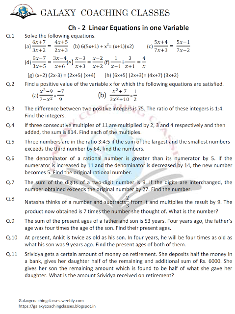 Galaxy Coaching Classes: worksheet class 8 ch-2 Linear Equations in two var... | galaxy ...