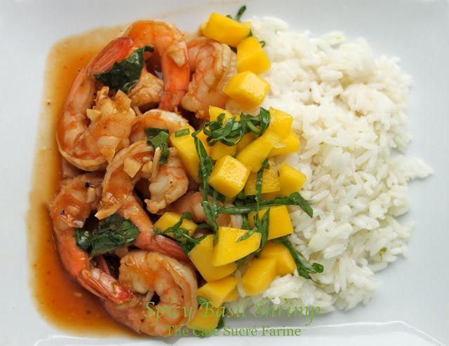 Spicy Basil Shrimp with Coconut Lime Jasmine Rice and Mango Salsa