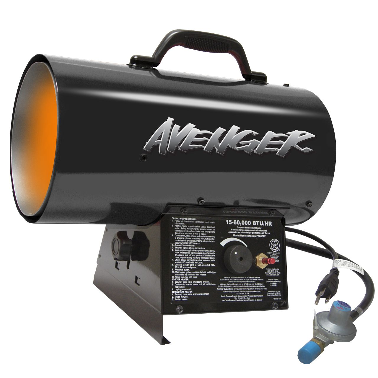 Avenger Portable Forced Air Propane Heater 60,000 BTU
