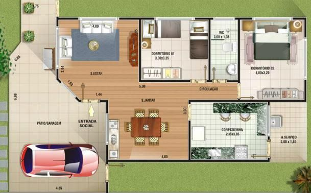 0021 el plano de esta casa de 1 piso 2 dormitorios tan for Fachadas de casas de un solo piso