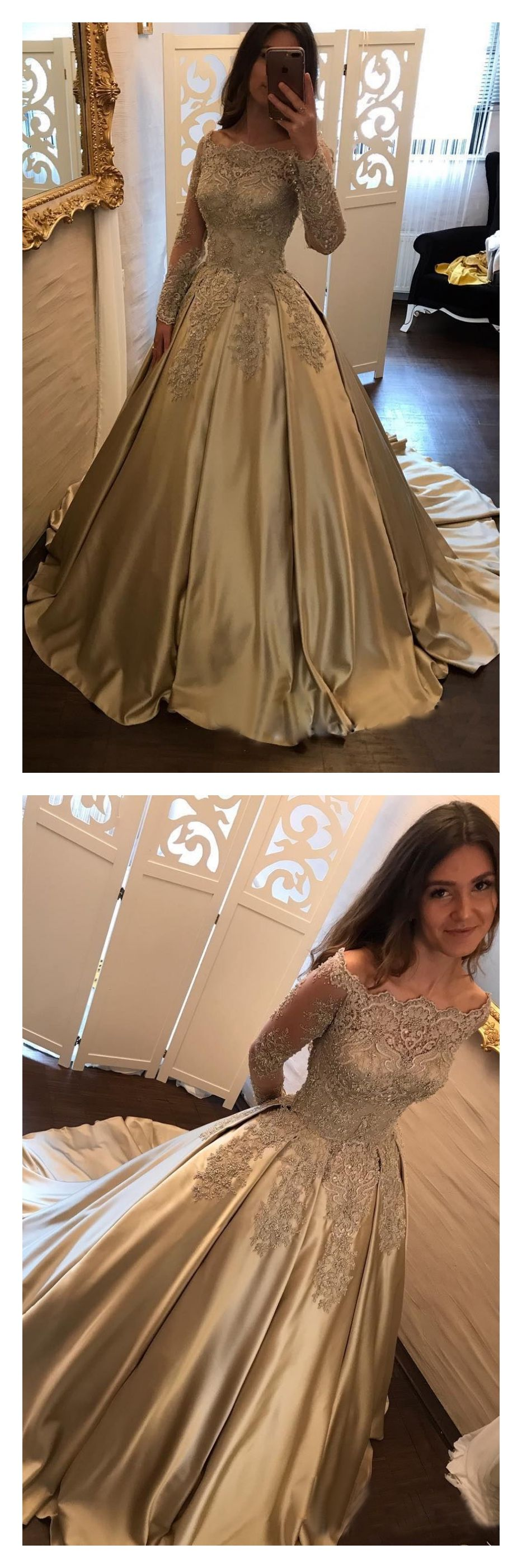 Elegant Champagne Lace Prom Dresses with Long SleevesED