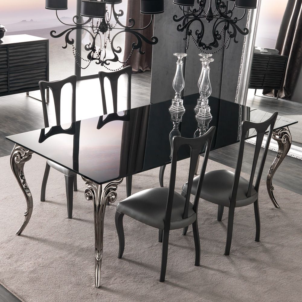 Room · Large Black Lacquered Glass Dining Table Set