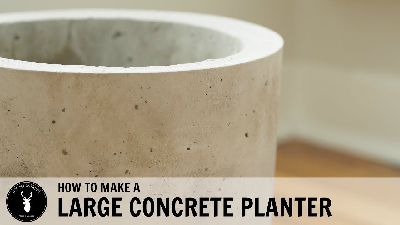 How To Make A Large Concrete Planter Youtube Large Concrete Planters Diy Cement Planters Concrete Planters