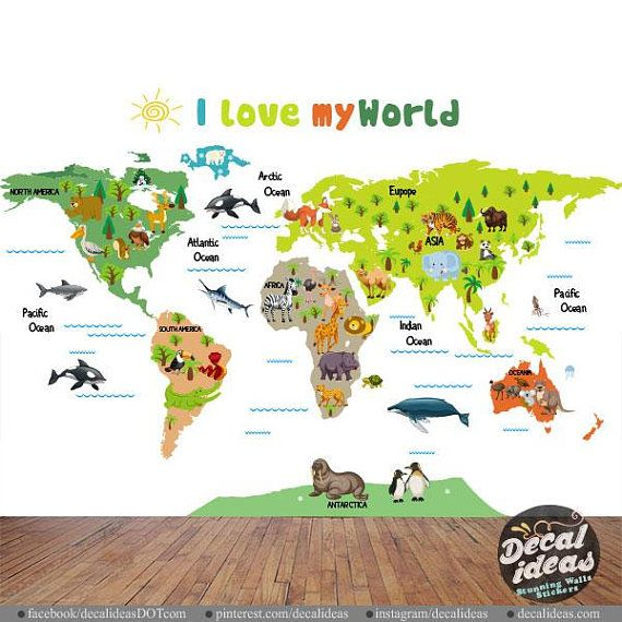 Nursery Wall Decal World Map Wall Sticker For Kids Animal Wall