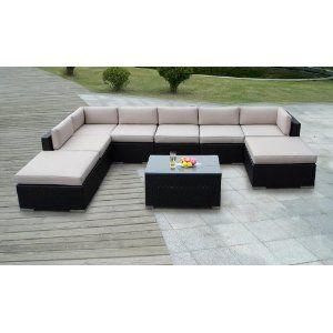 Genuine Ohana Outdoor Patio Sofa Sectional Wicker Funiture 9pc Garden Patio Furniture Patio Furniture Sets Modern Outdoor Furniture