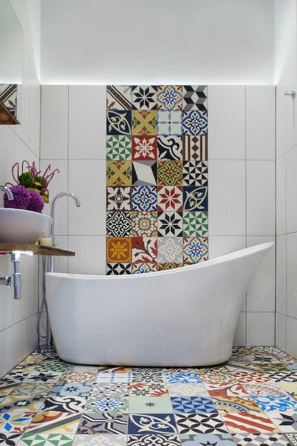 badezimmergestaltung badezimmerfliesen ideen bunt Fürdő - bodenfliesen für badezimmer