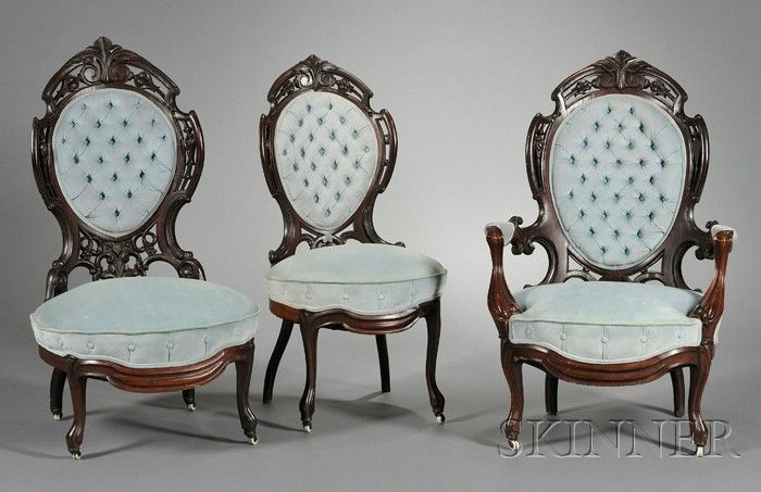 Set Of Five American Rococo Revival Laminated Rosewood Parlor Chairs, C.  1860