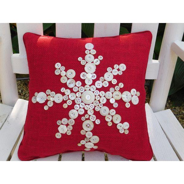 snowflake pillow red burlap pillow holiday pillow christmas pillow