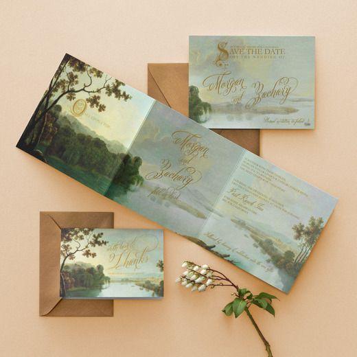 Fairy Tale Romance Signature White Wedding Invitations Claire Pettibone Rosemary Green