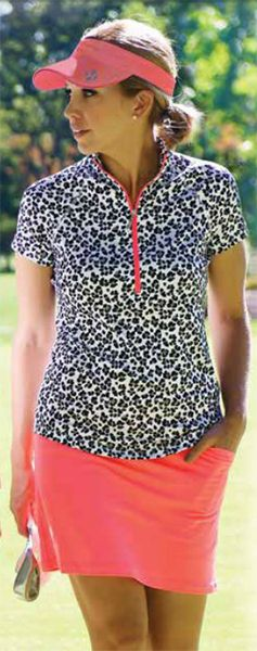 Tequila Sunrise (Cheetah & Coral Glow) JoFit Ladies & Plus Size Golf Outfit at #lorisgolfshoppe