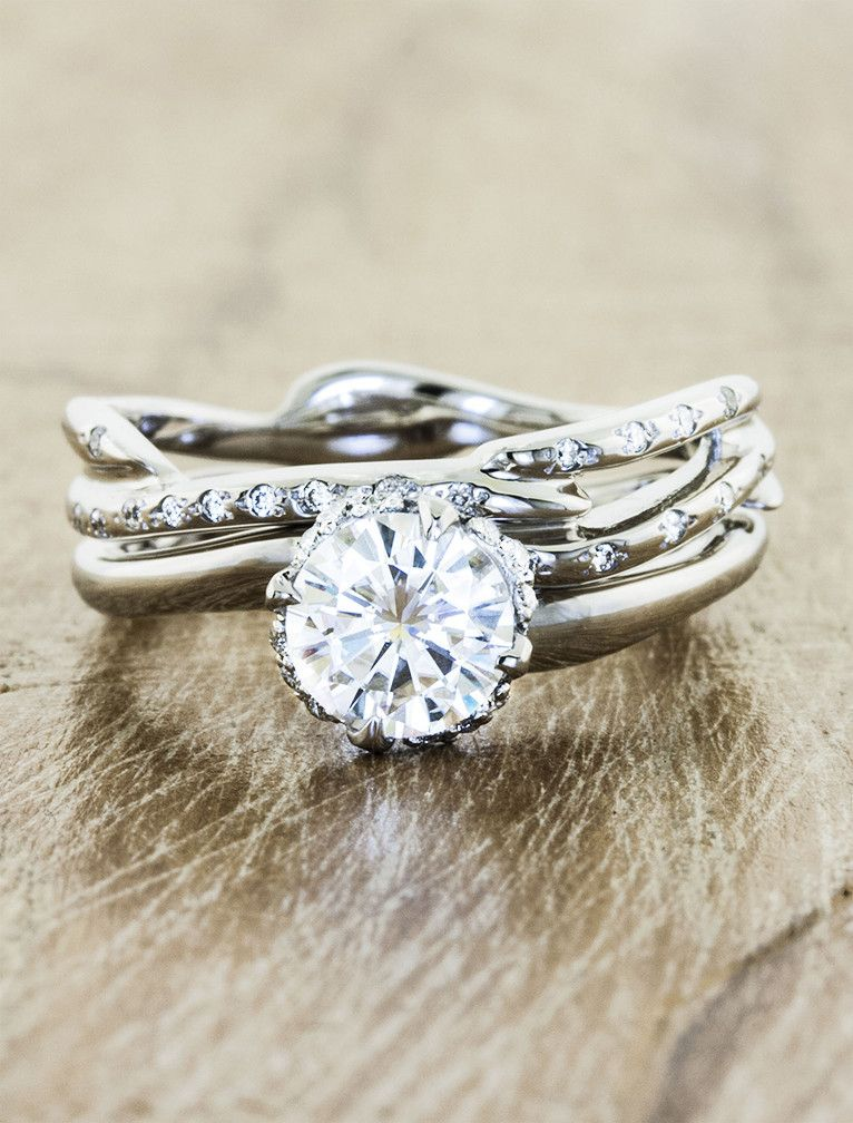 Nature inspired wavy band halo engagement ring country