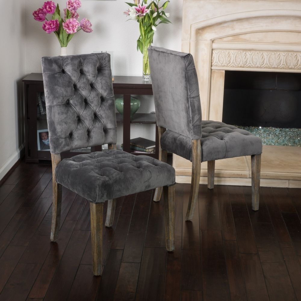Traditional Velvet Charcoal Dining Chair Set Of 2  Dining Chair Cool Charcoal Dining Room Inspiration