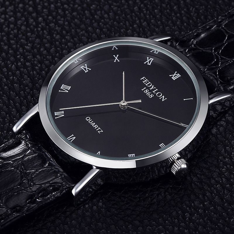 FEDYLON New Fashion Watch Men Elegant Leather Strap Simple British Style Casual Business Quartz Wristwatch Male Relogio Feminino
