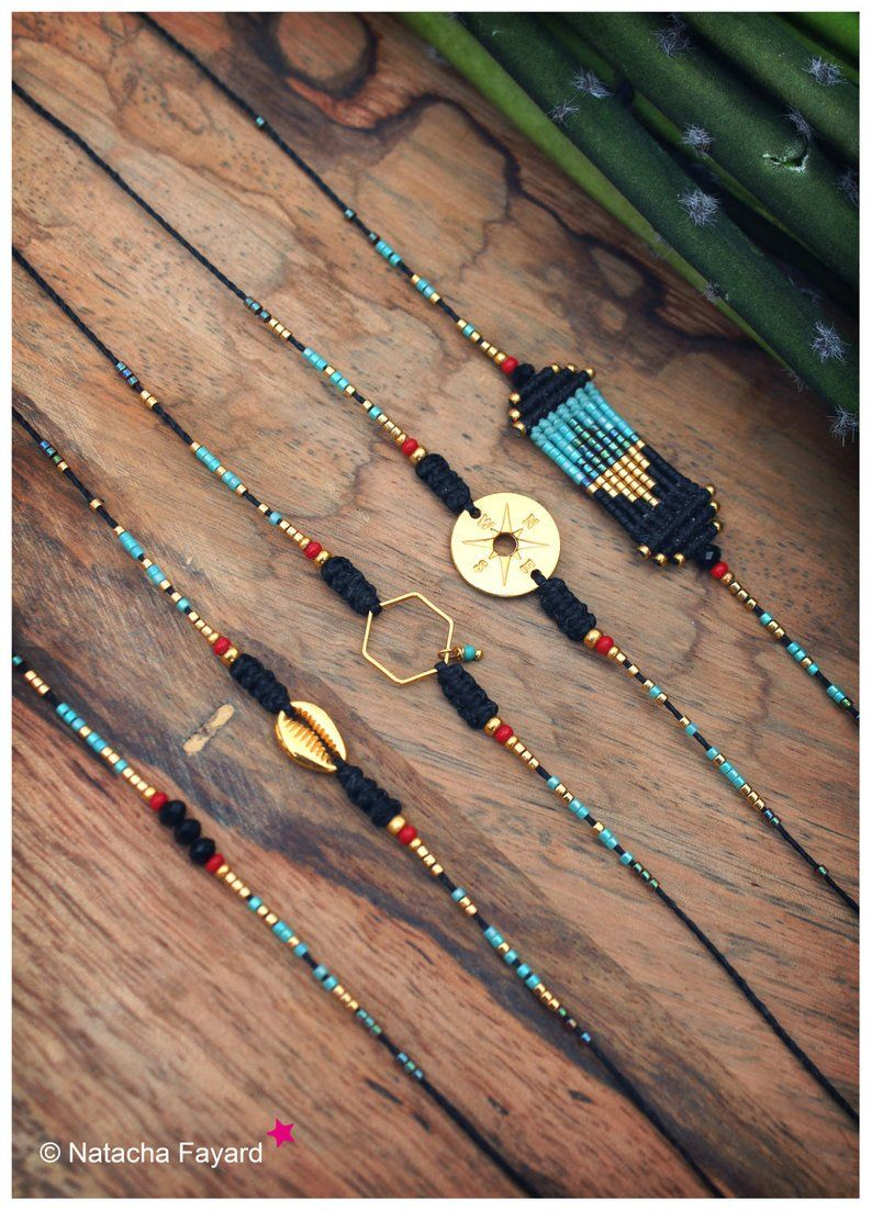 Hand woven macrame friendship bracelets black coral red and turquoise with gold hexagon cowrie or compass #macrame
